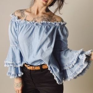 BOSTON PROPER Fringe Off Shoulder Chambray Top